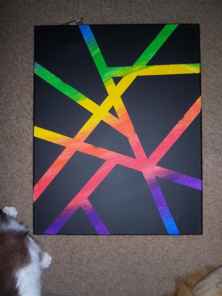 masking tape+acrylics+spray paint+30 minutes=awesome artwork