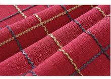 Natal americano Multisize cheques xadrez malha de algodão tampa de tabela toalha de mesa de jantar tecido de linho vermelho natural retângulo arredondado(China)
