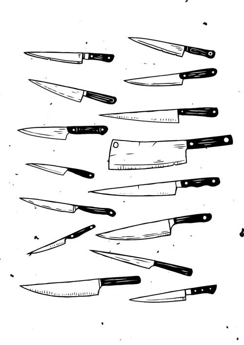 knife drawing black and white