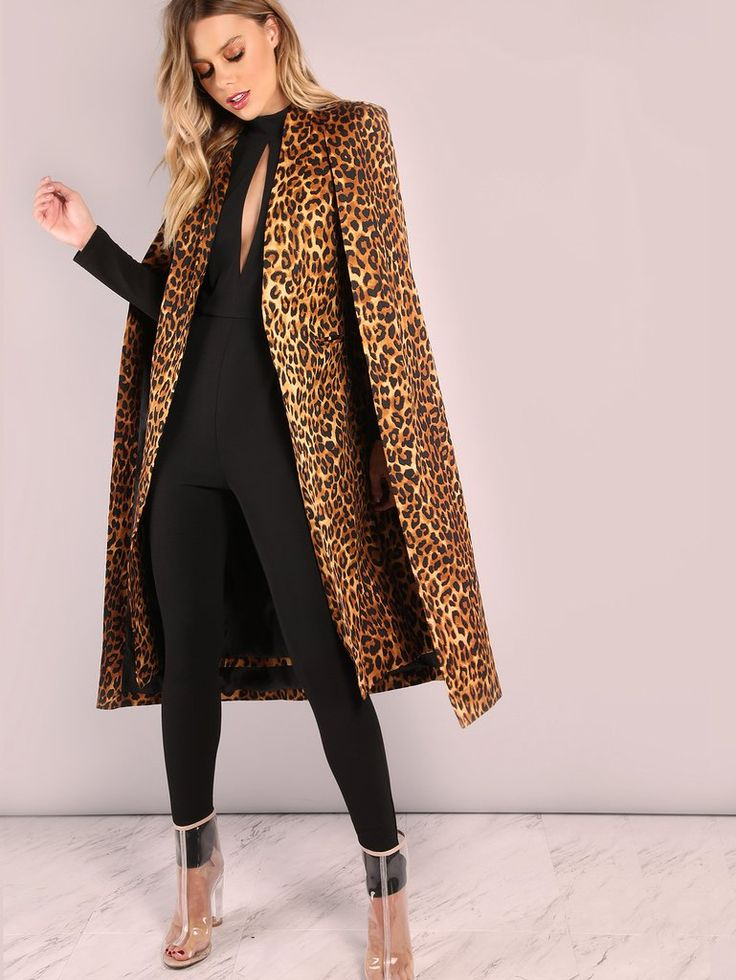 Brown Leopard Collarless Open Front Cape Coat – The Style Syndrome