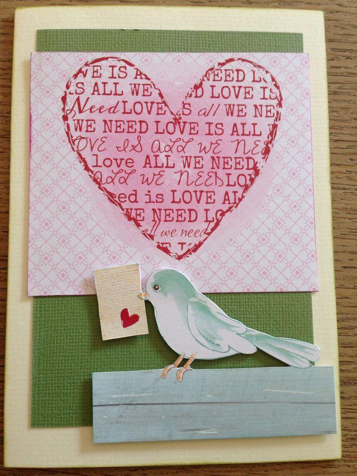 Håndlavet kort kærlighedsfugl. Homemade card Lovebird
