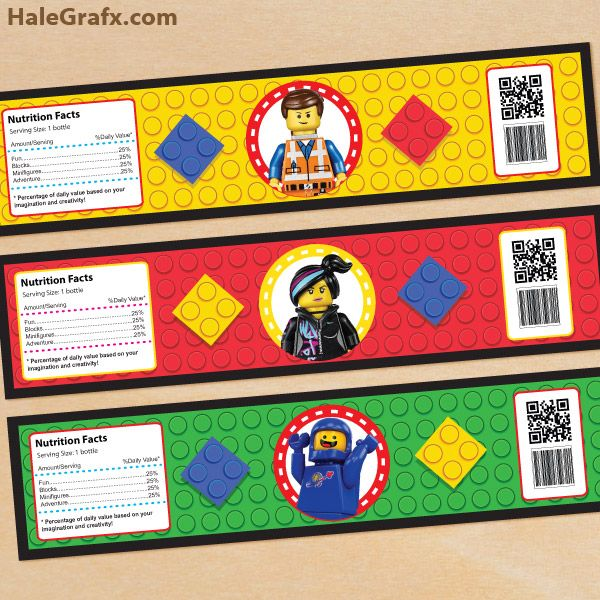 FREE Printable LEGO Movie Water Bottle Labels