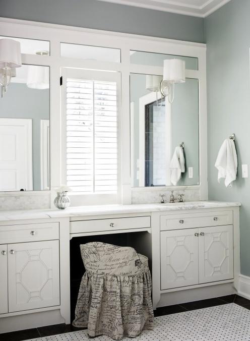 Classic 1930s bath  vanity double sinks  vanity