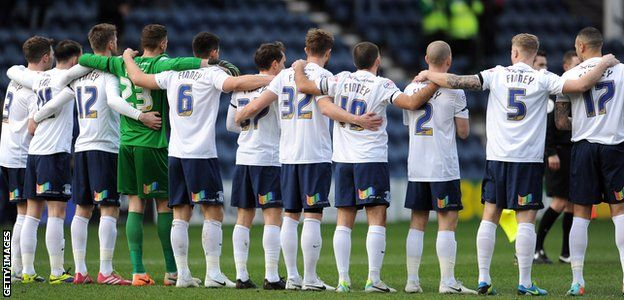 Feb. 15th. 2014: Preston North End's players wore shirts with Finney printed on the back, as the club remembered recently- deceased Sir Tom Finney before the game at Deepdale against Leyton Orient