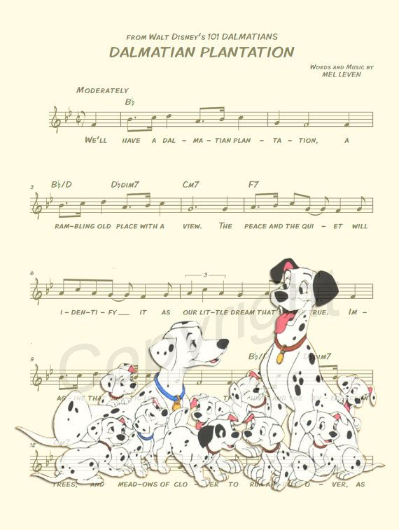 Here is a music sheet art print of 101 Dalmatians on Dalmatian Plantation Sheet Music. This is perfect for any 101 Dalmatians/Disney fanatic!  Be sure to let us know which print you prefer: Image 1 or Image 2. Thanks!  We print this on quality ivory card stock paper, which measures approximately 8.5x11, and ship it in a heavy-duty envelope to ensure it arrives intact.  11x17 Poster: $20.00 18x24 Poster: $30.00 24x36 Poster: $45.00  Take advantage of our Buy 2 Prints, Get 1 Free special…
