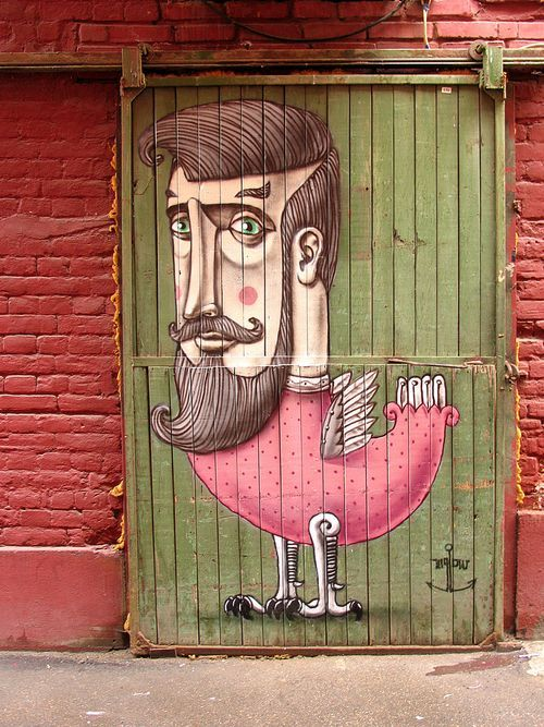 Ha! THis is awesome. I should consider drawing on an old door, too, for some outside-yard-art!