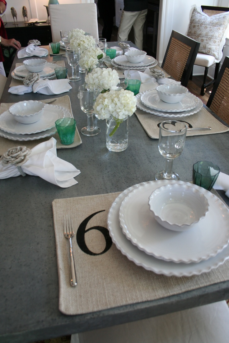 Beachy casual table setting - green accents are cute for St Patrick's day