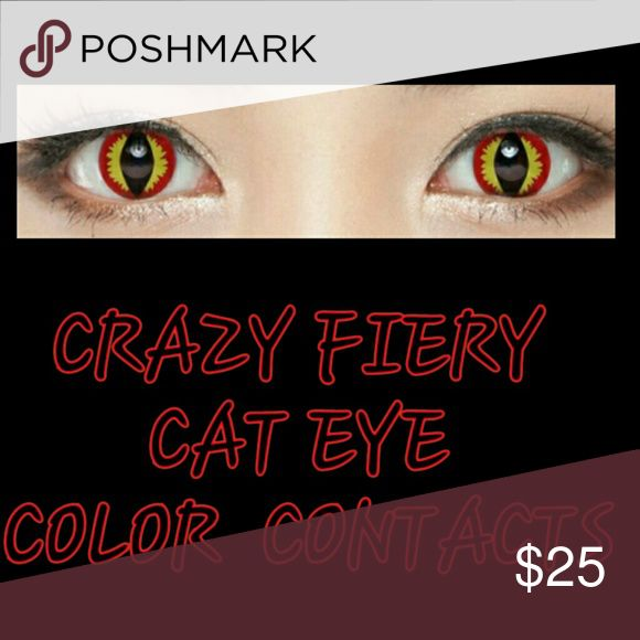 Red & Yellow Fiery Cat Eyes contacts w/ free case. Red and yellow fiery cat eye colored contact lenses. 1 year contact lenses with proper care.I will be sending a free contact case along with your purchase of contacts. MD & EYE Accessories Glasses