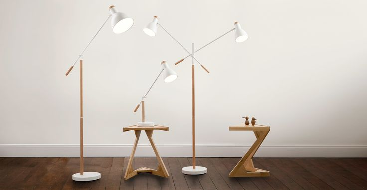 Cohen Floor Lamp in white and natural oak | made.com