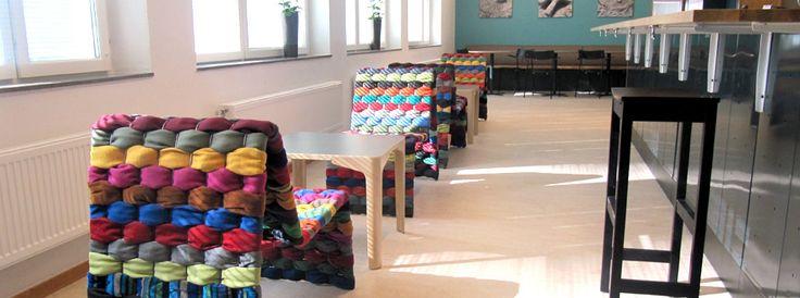 Green Furniture Sweden- T-shirt chair at St Hammar School #greenfurnituresweden #greenfurniture #ecofurniture #ecodesign #sthammarschool #tshirtchair