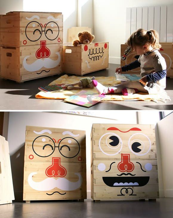 Kids Room Storage: Pilou Faces Storage Boxes by Béô Design /E-Glue #winebox con cajas de madera