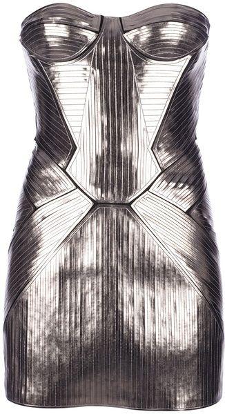 Metallic Bustier Mini Dress - Lyst
