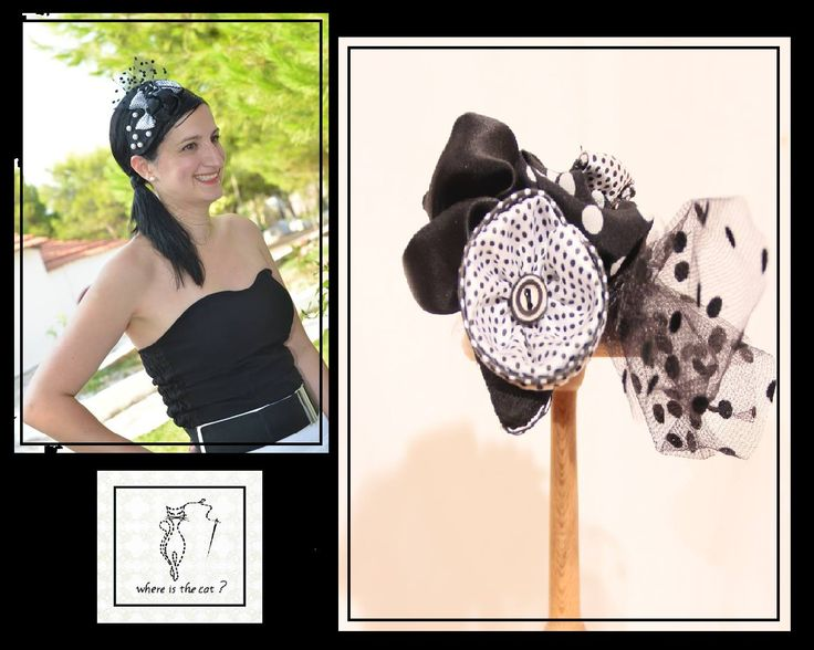 black satin fabric and black polka dot tulle on a teardrop-shaped base, decorated with black and white polka dots and black fabric flowers and details from white beads. - See more at: http://www.whereisthecat.gr/products/fascinator/black-satin-fascinator-hat-in-teardrop-shape-with-tulle/#sthash.IxkqCgwt.dpuf
