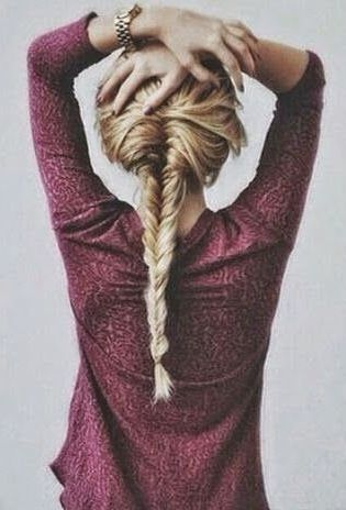 fishtail, braid, plait, hair, blonde, loose locks, messy