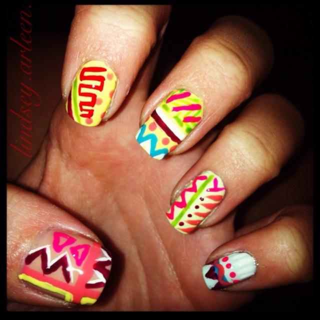 Colorful tribal print nails