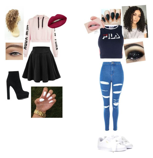 """""""differences is lit"""" by kennedyt-1 on Polyvore featuring Fila, Topshop, Casadei, Puma and Huda Beauty"""