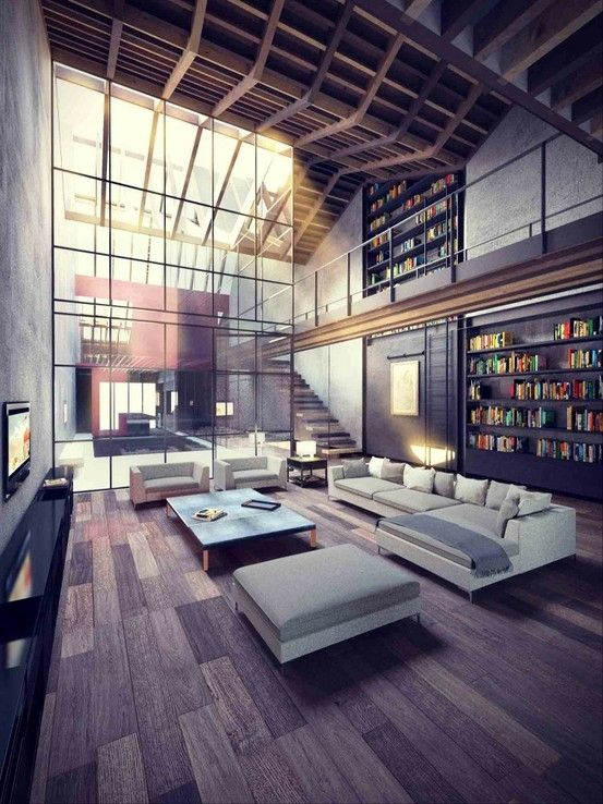WOW. [AB: Hm. Hand scraped plank-board flooring, wall of glass flooding the room with natural light, library with rolling ladder, walkway, rolling beam natural wood ceiling, visual breaks with unobstructed views -