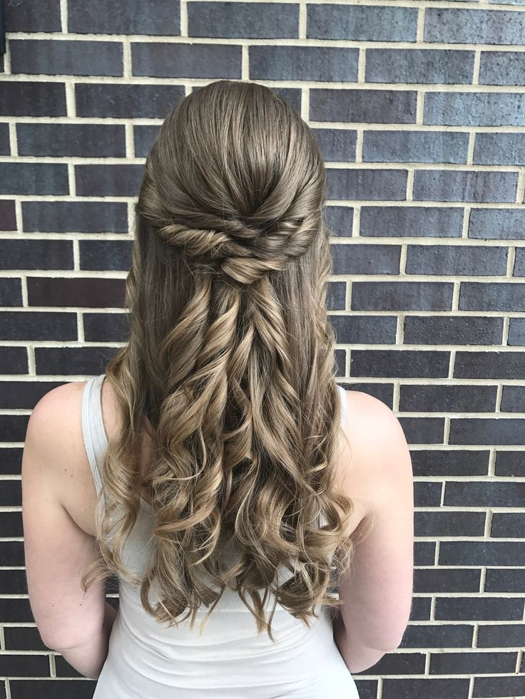 Lovely Twisted Crown With Curls Half Up Half Down Prom