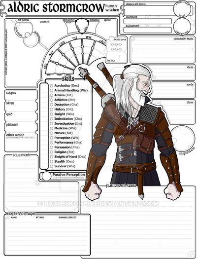 Commissioned Character Sheet (5e DnD) Aldric by BasiliskOnline on DeviantArt