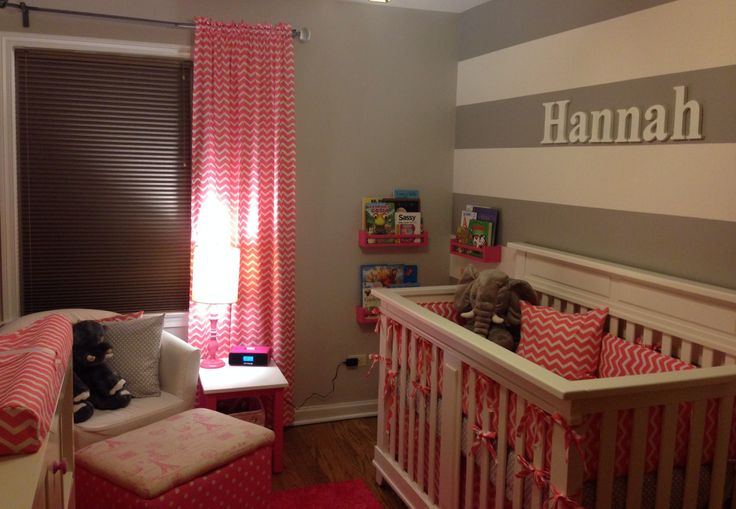 Pink & Gray nursery! Chevron, polka dots and elephants.