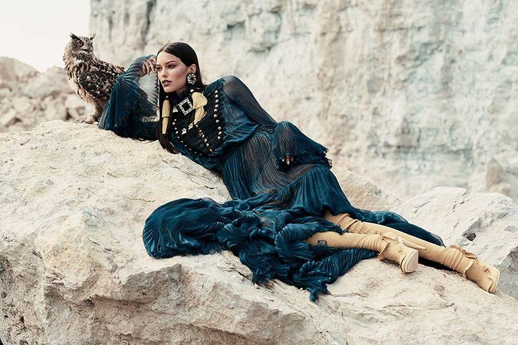 Embracing pleats, Lizzy Salt models Roberto Cavalli dress for FASHION Canada Magazine November 2016 issue