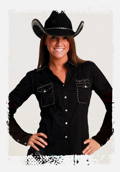 JUST ARRIVED! Black Long Sleeve Snap Shirt by Cowgirl Tuff. I so want this shirt!