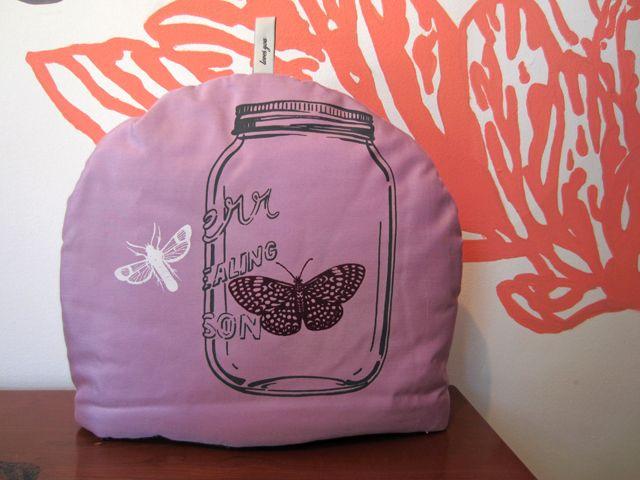 Tea Cozy - Lavendar with Mason Jar and Bugs