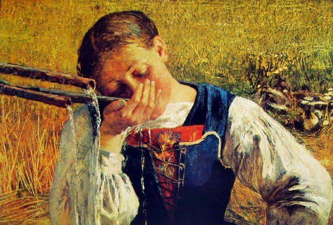 Giovanni Segantini (1858-1899) - Costume grigionese o Acqua di fonte - 1888 - Collezione privata, Kusnacht (Svizzera).