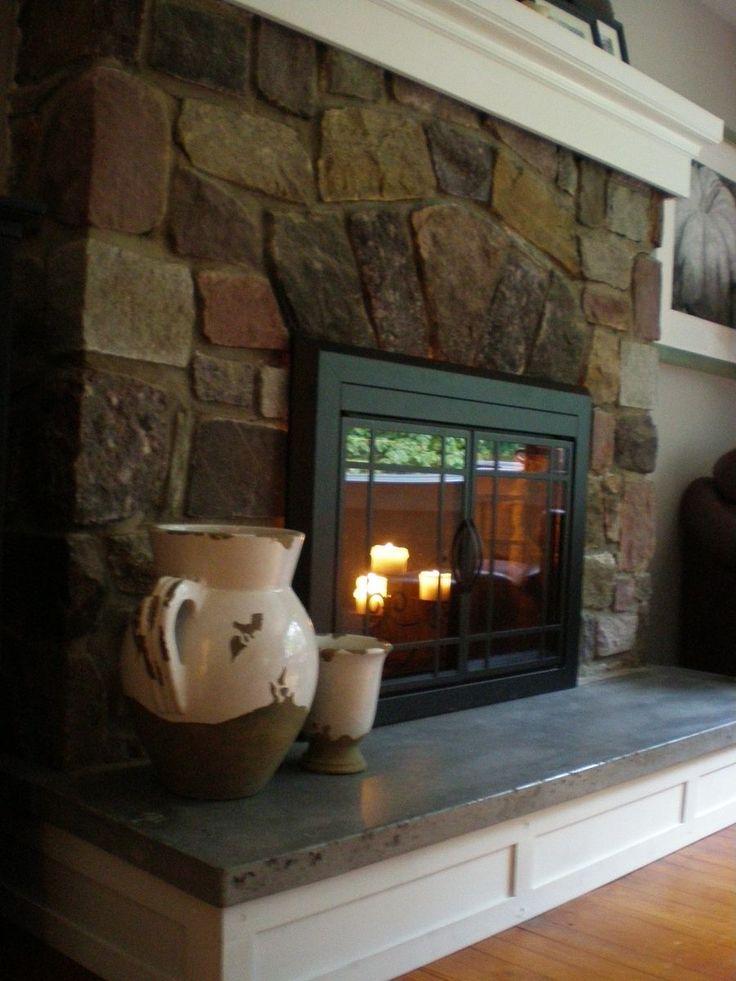 Custom Made Concrete Hearth And Mantel Fireplace RedoFireplace IdeasFireplace