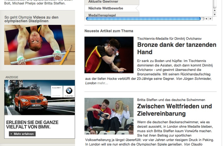 412 The picture of an athlete in his performance is above the picture of an athlete acting like an ordinary person, which shows they pick victory over lack of performance. The pictures are in the same area on the webpage as always.