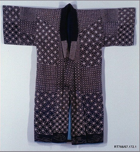 Title/Object Name Sashiko Kimono  Meiji period (1868–1912)    Indigo-dyed plain-weave cotton, quilted and embroidered with white cotton thread  ClassificationTextiles-Costumes  Credit LineSeymour Fund, 1967  Accession Number67.172.1