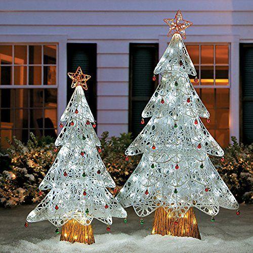 White Flocked LED Christmas Trees-Set of 2 - http://www.christmasshack.com/christmas-trees/outdoor-christmas-trees/white-flocked-led-christmas-trees-set-of-2/