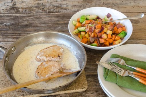 Creamy Mustard Pork Cutlets with Apple, Bacon & Vegetable Medley 1