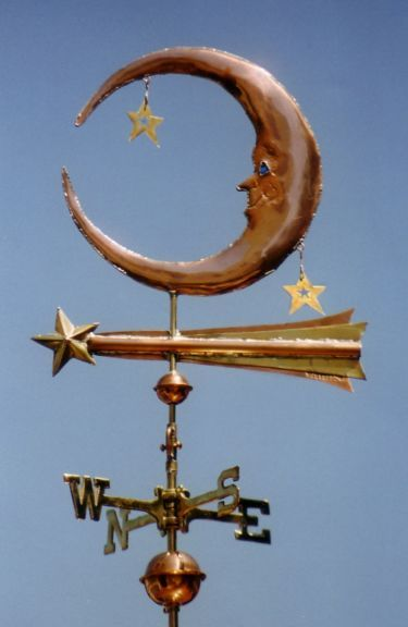 Lunar Weathervane with Stars by West Coast Weather Vanes.  Depending on your preference, the two stars in close association with the moon can either be attached by dangles, which allows them to move independently of the moon or they can be permanently affixed via a small copper post.