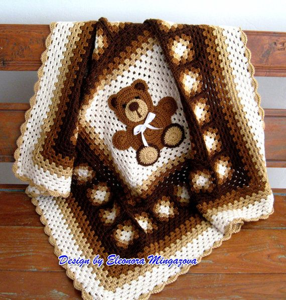 ***INSTRUCTIONS TO MAKE YOUR OWN  Crochet Teddy Bear blanket   Approximately 39 inches by 39 inches *INSTANT DIGITAL DOWNLOAD* (PDF)    With this