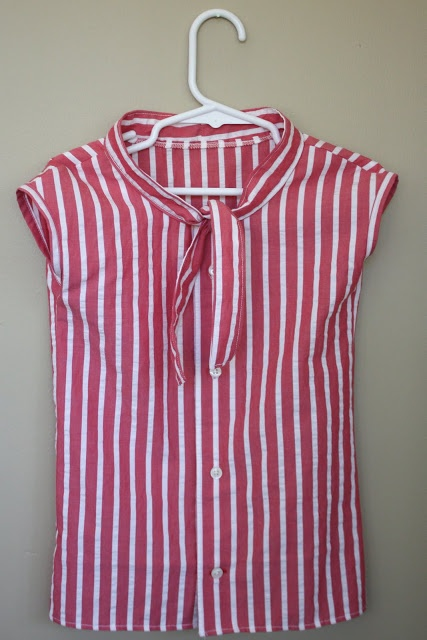 Upcycles / repurposed men's dress shirt into a cute summer shirt for girls.