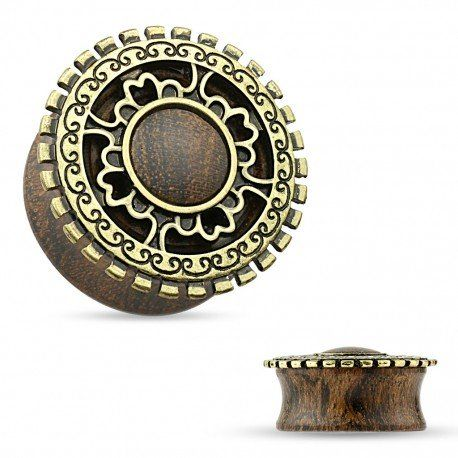 Piercing plug tribal bois antique