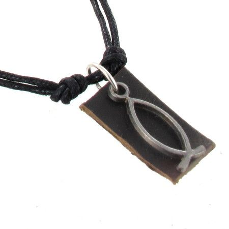 Ichthys Fish Pendant on Black Leather Cord Necklace