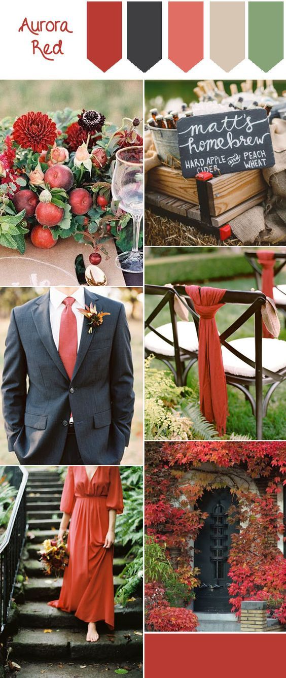 What a wonderful palette for a fall wedding! With burnt orange and navy hues, create a rustic and charming reception.