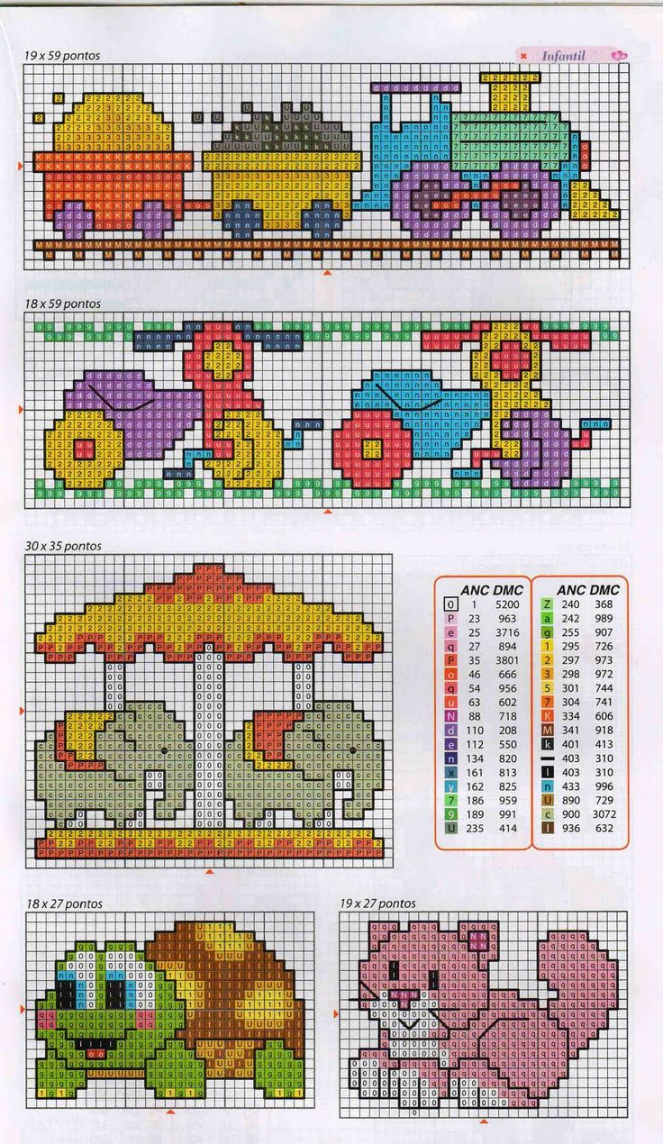 train, tricycle, elephant carousel, turtle, and cat cross stitch