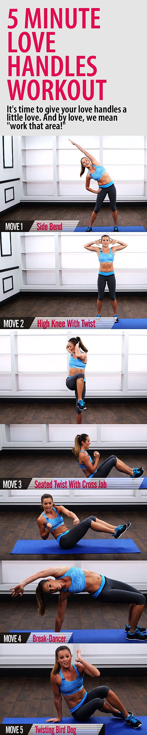 5 minute LOVE HANDLES workout. Get a stronger core and chiseled waist with these 5 great moves that target the obliques