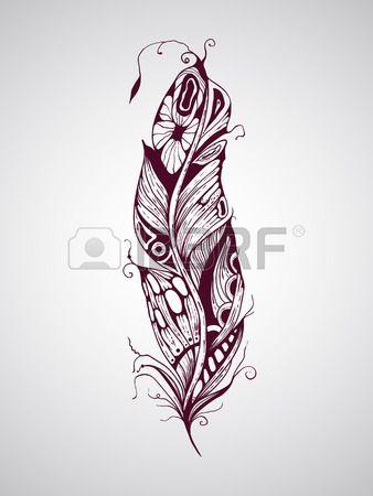 Plume de tatouage dessiné vecteur de main très détaillée Banque d'images