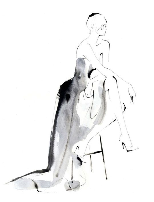 Fashion illustration - stylish ink & wash, fashion drawing // Yoco Nagamiya