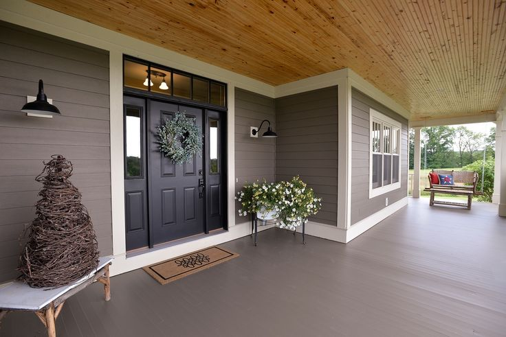 Traditional Porch with Porch swing, Hakwood 8 ft. x 4 in. x 5/16 in. Knotty Pine Beaded Plank Kit, Wrap around porch