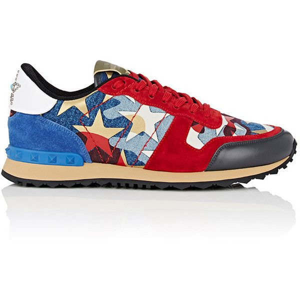 Valentino Men's Rockrunner Sneakers featuring polyvore, men's fashion, men's shoes, men's sneakers, red, men's low top shoes, mens shoes, mens sneakers, valentino mens shoes and mens low tops