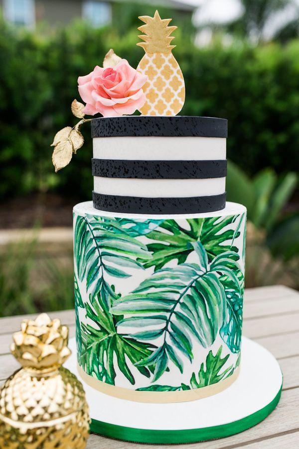 Adorable cake for poolside palm springs bachelorette party - bridal shower dessert - tropical cake