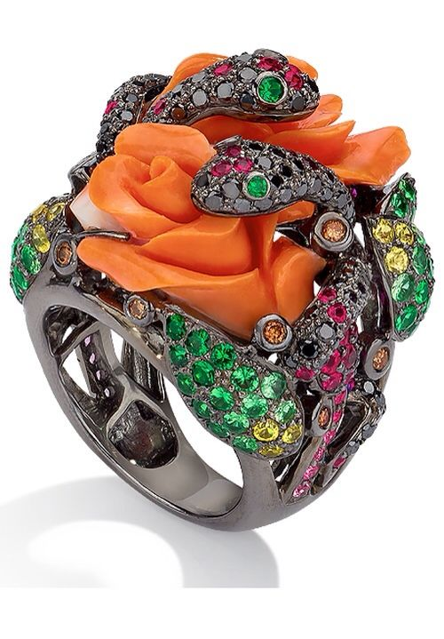 Coral Rose & Snake Ring by Cellini Jewelers   Haute Tramp