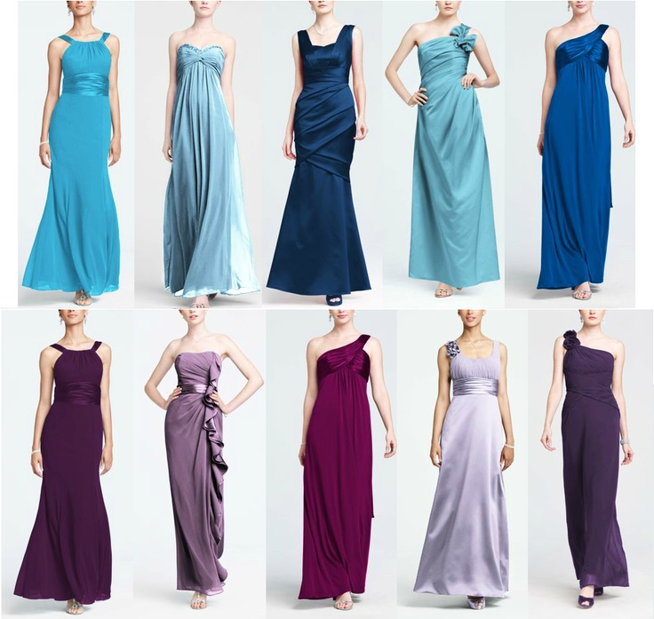 Mix and Match! Blue Bridesmaids Dresses and Purple Bridemaids Dresses!