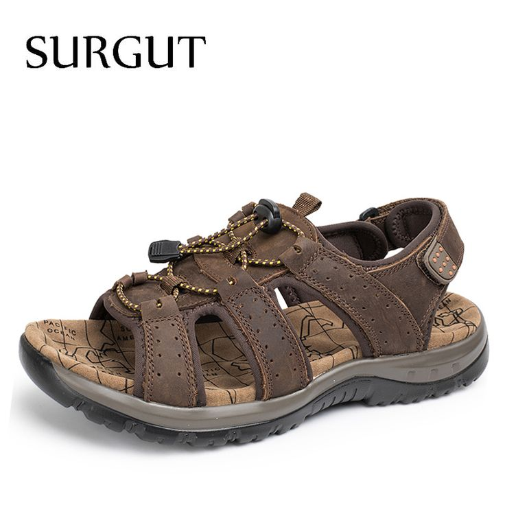 SURGUT Brand Breathable Sandals Men Shoes Real Leather Sandals Shoes Men Sandals Non Slip Beach Summer Slippers For Men Big Size #Affiliate