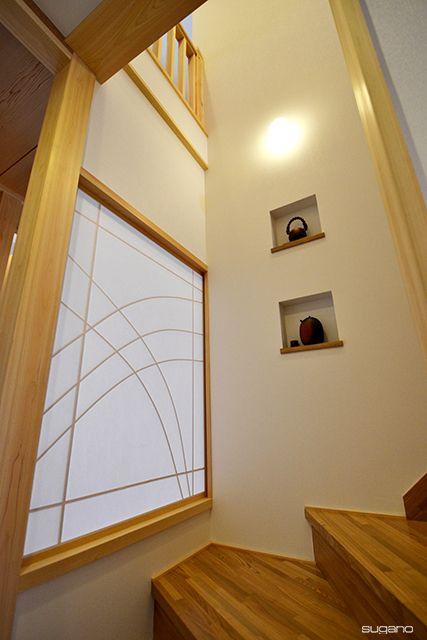 階段にニッチを。#和風住宅 #ニッチ #階段 #家づくり #新築 #飾り棚 #障子 #住宅 #設計事務所 #菅野企画設計